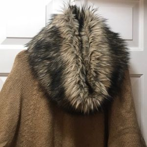 Michael Kors camel poncho removable fur collar
